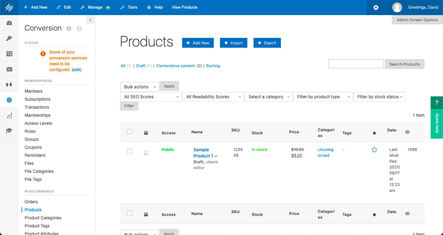 WooCommerce products page