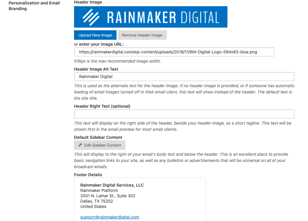 Header image and other RainMail specifications
