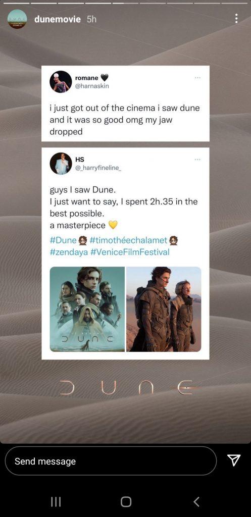 Dune movie Instagram Story UGC